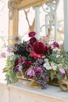 modern antique wedding shoot: lavender and burgundy red