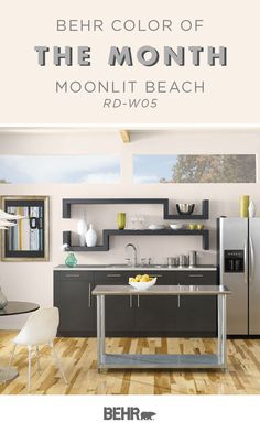 There's nothing like a neutral wall color to revamp your space. For a touch of traditional home decor inspiration, turn to the Behr Paint Color of the Month: Moonlit Beach. This white hue adds a classic style to this modern kitchen. Click below to learn more.