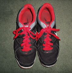 Men's Red, Black & Grey NIKE REVOLUTION Athletic Running Shoes, Size 12, GUC #NIKEREVOLUTION #LaceUpAthleticRunningSneakerShoes