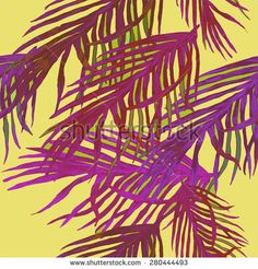 Seamless pattern, which depicts palm leaves - stock photo