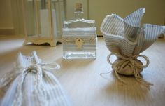Baptism/Christening Oil Set/Ladoset/Set of Three Candles, Oil Bottle, Soap/Greek Orthodox Baptism Ceramic Fish, Oil Candles, Oil Bottle, Striped Linen, Linen Fabric, Christening, Place Card Holders, Unique Jewelry, Handmade Gifts