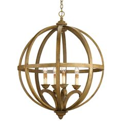 Axel Orb Chandelier features a steel frame as framework for curved wooden slats in Chestnut stain slightly washed giving it an aged appearance. Four 60 watt, 120 volt B10 Candelabra base incandescent bulbs are required, but not included. 32 inch diameter x 41 inch height x 96 inch of chain.