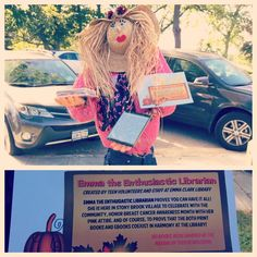 """""""Emma the Enthusiastic Librarian"""" (made by teen volunteers and staff) is up in Stony Brook Village Center! Stop by to see her in-person, along w/ all of the other scarecrows made by the community! Voting starts tomorrow!"""