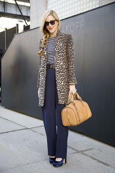 Stripes and leopard are possibly my favorite mixed print combo calivintage:  (via Joanna Hillman at Reed Krakoff   Street Fashion   Street P...