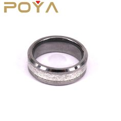 POYA Jewelry Blank Tungsten Ring With Meteorite Inlay Bevel Edged 8mm Engagement Wedding Bands For Couples Wholesale