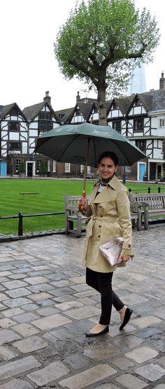 Susana Fernandez   A Key to the Armoire <London + rainy day style + trench coat + black coated jeans + stripes + silk scarf + neckerchief + khaki + ballerina flats + classic style + preppy style>