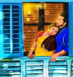 Indian Illustration, Illustration Art Drawing, Couple Illustration, Love Cartoon Couple, Cute Love Cartoons, Cartoon Boy, Cute Love Gif, Cute Love Pictures, Couple Pictures