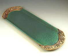 Serve your sushi or artisan bread in style with a ceramic bread tray in vintage green. Made out of porcelain.  Size: 15 x 5 1/2 x 1/2  (¯`•.¸Food