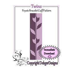 Twins  Beaded Peyote Bracelet Cuff Pattern by FUNPATTERNDESIGNS, $4.50