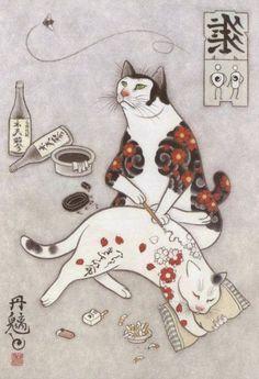 Japanese Artist Kazuaki Horitomo Creates Badass Tattooed Cats Illustrations Cat Art Cat Tattoo Cat Illustration