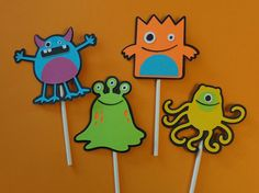 Monster Birthday Party Cupcake Toppers by ThePirdieBirdie on Etsy, $15.00