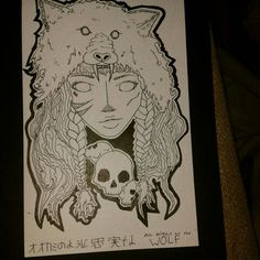 This is a girl I drew. She has a wolf headdress. I was thinking about using this design as the graphics on my longboard. (I'm a skateboarder) Please refer to me if you share my artwork Broken Smile Sisters