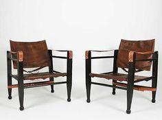 VINTAGE original 20 th SCANDINAVIAN DESIGN leather SAFARI CHAIR