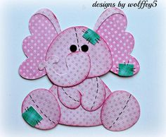 ELITE4U ELEPHANT BABY KID scrapbook premade paper piecing diecut piece WOLFFEY5 #wolffey5