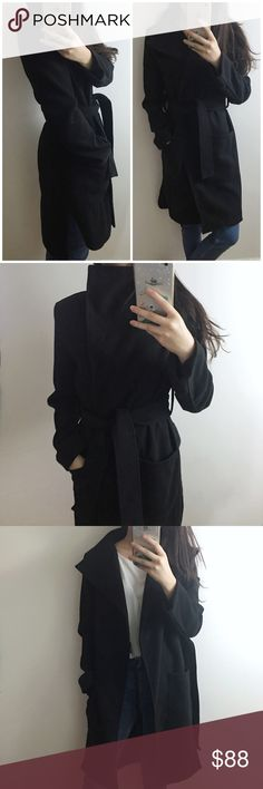 Black wrap coat Brand new. Classic wrap coat with big collar. Wrap it with anything and you will look nice easily. Comfy and warm. Perfect for spring and fall or warmer winters. Size S Jackets & Coats