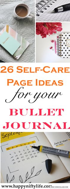 Bullet Journal Self-Care Page Ideas. Here are bullet journal pages to help you include self-care in your daily routine through daily habit trackers, self-care collection lists, gratitude logs, mood trackers and more. Journal Log, Journal Prompts, Journal Pages, Journal Ideas, Bullet Journal Spread, Bullet Journal Layout, Bullet Journals, Planner Stickers, Post Its