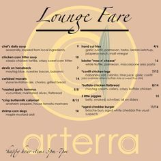 Check out our Lounge Fare menu at Arterra Del Mar! Do you have a favorite?