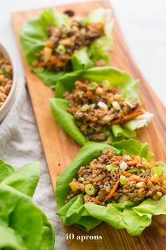 Lettuce Wraps (PF Changs Lettuce Wraps Recipe) – olive oil (might reduce), yellow onion, baby bella mushrooms, ground pork/chicken. Paleo Lettuce Wraps, Pf Changs Lettuce Wraps, Asian Lettuce Wraps, Lettuce Wrap Recipes, Turkey Lettuce Wraps, Good Healthy Recipes, Whole 30 Recipes, Healthy Foods To Eat, Healthy Snacks