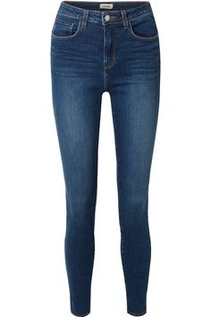 L'Agence - Marguerite High-rise Skinny Jeans - Dark denim Source by netaporter skinny jeans shoes Ripped Jeggings, Ripped Knee Jeans, Dark Denim Jeans, High Waist Jeans, Distressed Jeans, Fashion Models, Fashion Edgy, Dark Blue Skinny Jeans, Blue Skinny Jeans Outfit