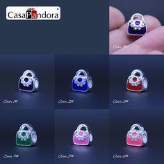 CasaPandora 6สี925ชุบกระเป๋าถือของผู้หญิงรูปร่างพอดีสร้อยข้อมือC Harm DIYเคลือบลูกปัดเครื่องประดับทำPingente Berloque