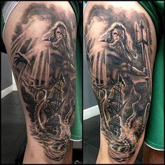 Poseidon VS The Kraken by Isabelle Vannucci - True Colour Tattoo Paisley Scotland