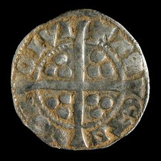 Reverse of Edward I long-cross penny found during investigations at Weedon Hill, Aylesbury, Buckinghamshire. Long cross pennies were first issued during the reign of Henry III, to try to stop people clipping silver coinage.