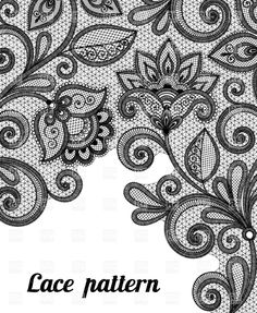 Black Lace Background | Floral black lace pattern, download royalty-free vector clipart (EPS)