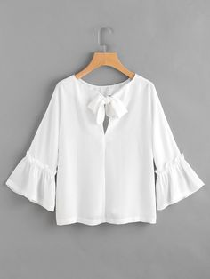 Shop Bow Tie Back Frill Bell Sleeve Top online. SheIn offers Bow Tie Back Frill Bell Sleeve Top & more to fit your fashionable needs. Blouse Styles, Blouse Designs, Stylish Dresses, Fashion Dresses, Bell Sleeves, Bell Sleeve Top, Spring Shirts, Couture, Mode Inspiration