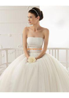 Princesa sem alças chá de comprimento vestido de noiva de tule