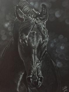 black horse de arteyayiloren en Etsy, láminas decorativas, ilustraciones, ilustration, pencil drawings, lápices de colores