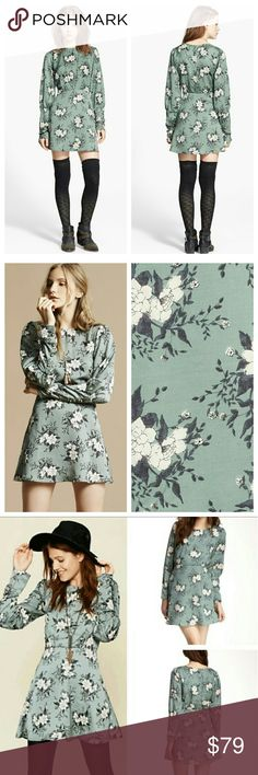 Free People Parker Dress Floral print silky long sleeve dress with button detailing on the cuffs and back. Flared skirt. Round neck. Hidden side zip.  - NWOT/Tag cut - 100% Polyester - Machine Wash Cold - Color: Sage Free People Dresses Long Sleeve