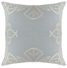 The PARISIENNE large square cushion cover, by Sue Wong for EnglishHome.com. Linen blend with taffeta applique and embroidered detail.