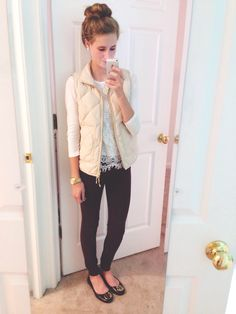 White shirt/sweater, white vest, black pants, leopard flats