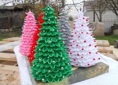A fabric tree is really cool and it beats having a real tree any day of the week. Christmas Tree Beads, Plastic Christmas Tree, Christmas Tree Crafts, Christmas Projects, All Things Christmas, Holiday Crafts, Christmas Decorations, Christmas Ribbon, Diy Ribbon