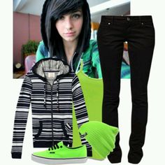 Neon Green and Black Emo clothing