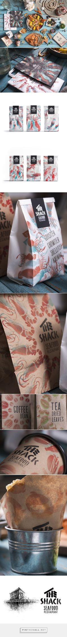 The Shack on Behance by Backbone Branding Yerevan, Armenia curated by Packaging Diva PD. Love this seafood packaging branding. Look at those images on the bags.