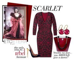 Etcetera Fall 2015: Scarlet Dress by timirac on Polyvore featuring polyvore, fashion, style, Suzanne Kalan, Etcetera and Christian Louboutin