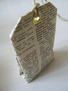 DIY:  Scented Sachet Tutorial - made from old book pages or scrapbook paper. diy book bag, diy sachets, diy scented sachets, diy bag pattern, scrapbook paper, gift tags, small gifts, scent tea, old books