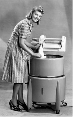 Wringer washing machines...women had to be careful not to get their fingers or hair caught in the wringer.