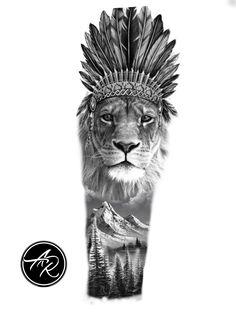 Lion Tattoo Design, Tattoo Designs, Top Tattoos, Sleeve Tattoos, Tattoo Pierna Hombre, Ozzy Tattoo, Desenho Tattoo, Tattoo Project, Tiger Tattoo