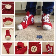 Cozy Crochet Converse Slippers.  Free pattern--> http://wonderfuldiy.com/wonderful-diy-crochet-converse-slippers/