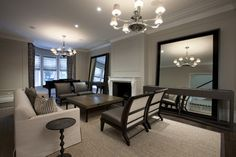 The Most Popular/Pinned Paint Colors on Pinterest {Paint It Monday}… Contemporary Living Room by Chicago Interior Designers & Decorators Michael Abrams Limited Revere Pewter Benjamin Moore