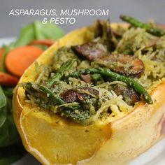 Asparagus And Mushroom Pesto Spaghetti Squash