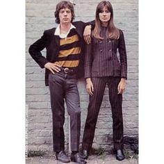 1967 Françoise Hardy & Mick Jagger by Jean-Marie Périer Jane Birkin, Françoise Hardy, 1960s Fashion, Vintage Fashion, Five Jeans, Ali Mcgraw, Estilo Rock, Jean Marie, Hippie Man