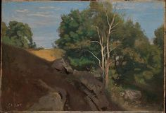 "Camille Corot (French, Paris 1796–1875 Paris). Fontainebleau: Group of Trees on the Flank of a Rocky Hillside, ca. 1845–50. The Metropolitan Museum of Art, New York. Louis-Dreyfus Family Collection (L.2014.35) | This work is exhibited in the ""Unfinished: Thoughts Left Visible"" exhibition, on view through September 4, 2016."
