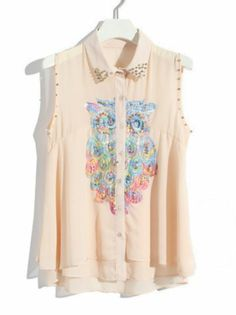 Pink Sleeveless Owl Embroidery Bead Blouse pictures