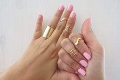 Set of 9 gold stacking rings Gold knuckle ring by HLcollection, $44.00