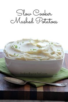 Slow Cooker Mashed Potato Recipe from bakedbyrachel.com @Rachel {Baked by Rachel}