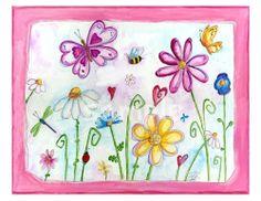 """✿Printemps✿ """"Dans le jardin"""" aquarelle de Bealoo."""