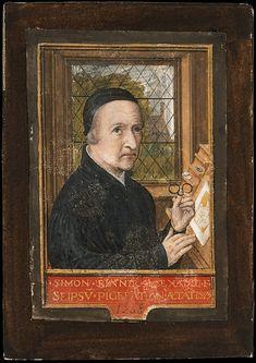 "Simon Bening (Netherlandish, 1483/84–1561). Self-portrait, 1558. The Metropolitan Museum of Art, New York. Robert Lehman Collection, 1975 (1975.1.2487) | Self-portrait, tempera on parchment (8.5 cm × 5.7 cm), Metropolitan Museum of Art, New York. The inscription in Latin reads ""Simon Bennik. Alexandri. [F]ilius Se Ipsu. Pi[n]gebat. Ano. Aetatis. 75. 1558."" (""Simon Bennik, the son of Alexander, painted this himself at the age of 75 in 1558"")."